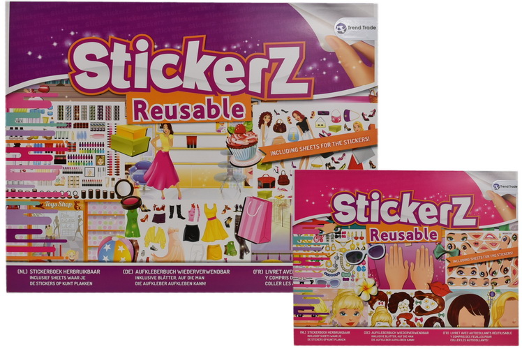 Stickerz - Reusable Girls Sticker Book Large - 2 Asst
