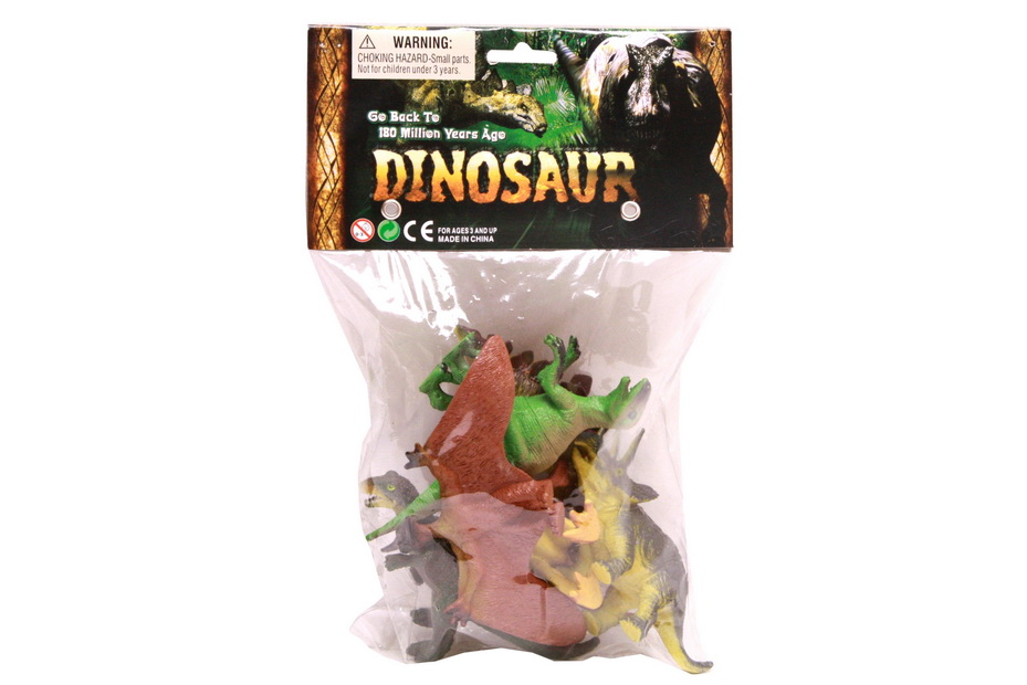 6 Assorted Dinosaurs In Pvc Bag/Header