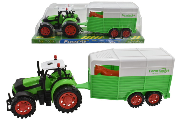 Friction Tractor With Horsebox - Pvc/Platform