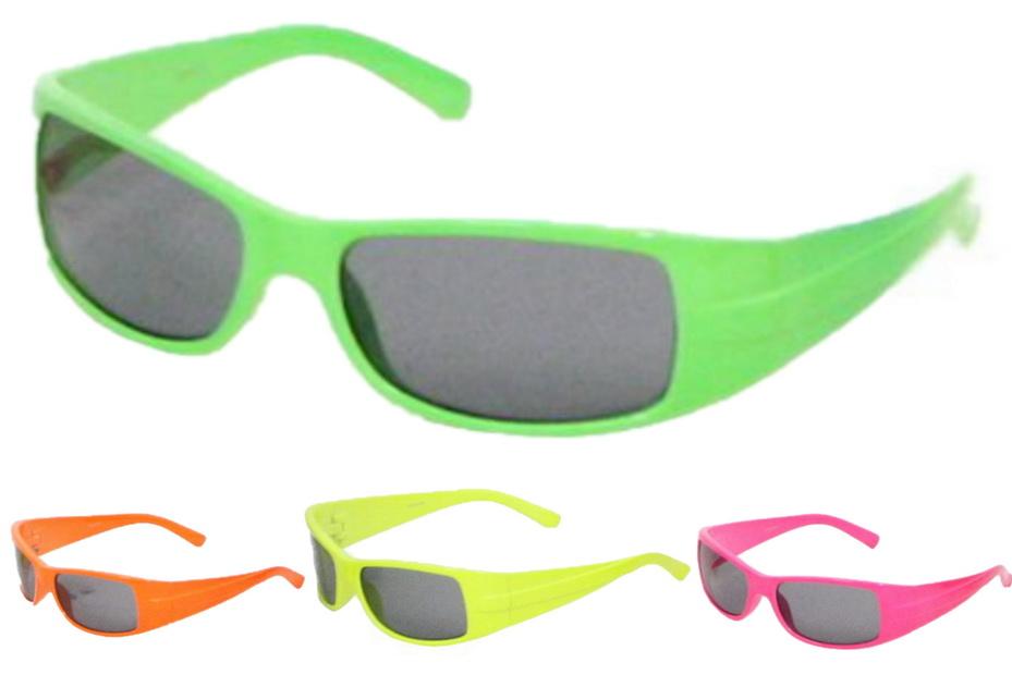 Kids Plastic Neon Colour Sports Wrap Sunglasses 4 Asst