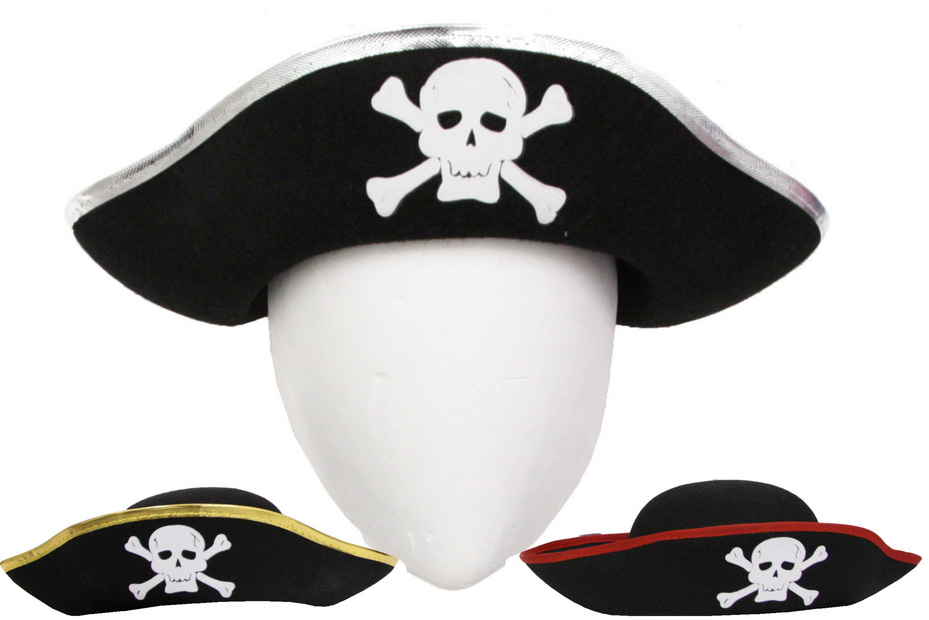 Pirate Hat With Skull Logo - 3 Assorted Colours