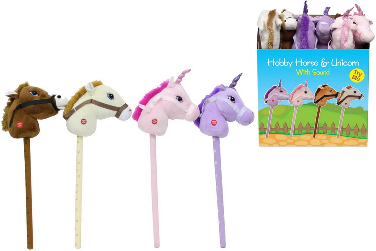 Hobby Horse & Unicorn With Sound 4 Assorted Col D/Box