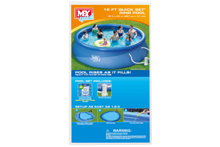 """15' x 36"""" Quick Set Ring Pool With Filter Pump"""