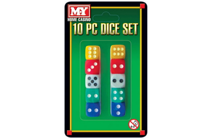 """10pc Dice Set On Blistercard """"M.Y"""""""