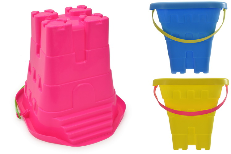 """8""""/20cm Square Castle Bucket With Steps 3 Assorted Cols"""