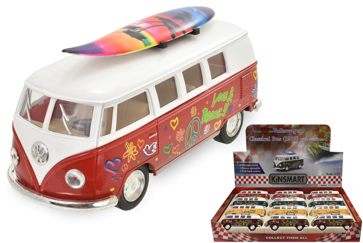 1:32sc Vw 1962 Classic Bus - With Surf Board - Tampo P
