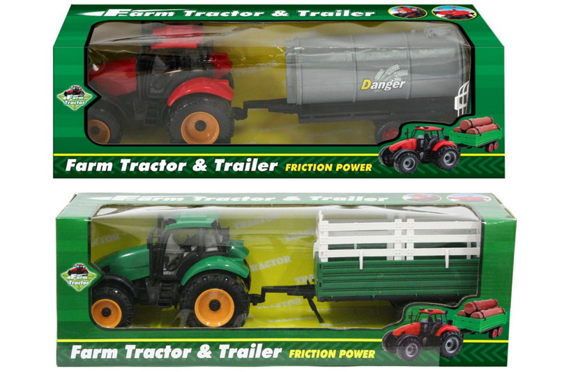 Plastic Friction Tractors With Trailers (4 Assorted)