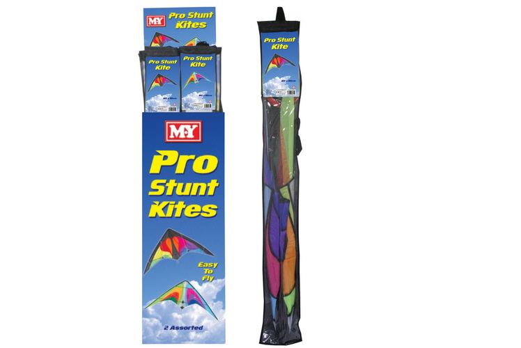 160cm x 80cm Nylon Stunt Kite (2 Asst) In Display Box