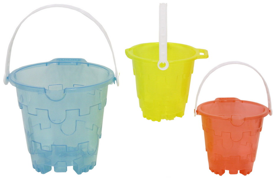 Transparent Coloured Round Castle Bucket With Lip-3asst