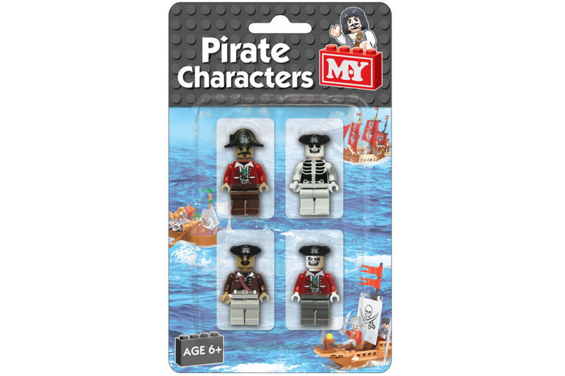 "4pc Pirate Brick Figures On Blistercard ""M.Y"""
