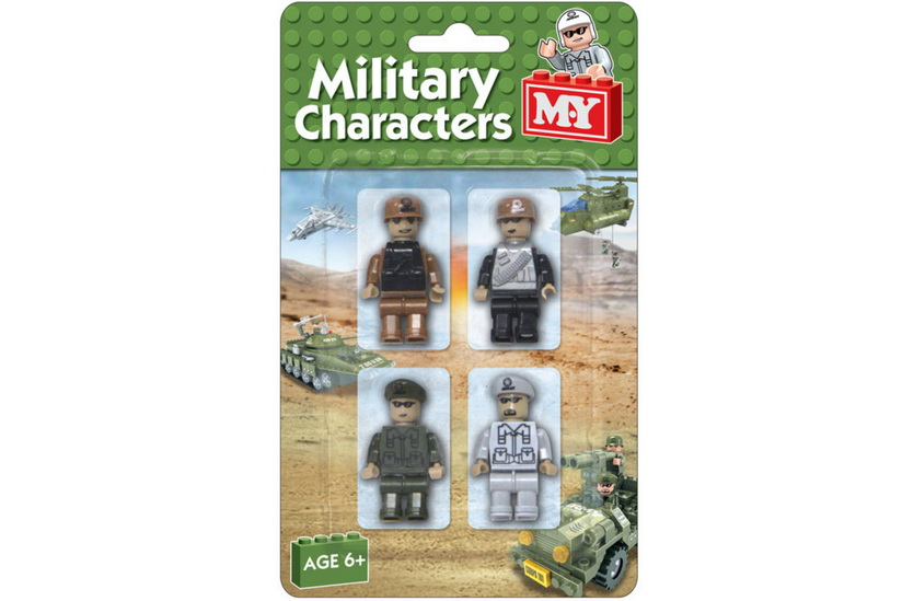 "4pc Army Brick Figures On Blistercard ""M.Y"""