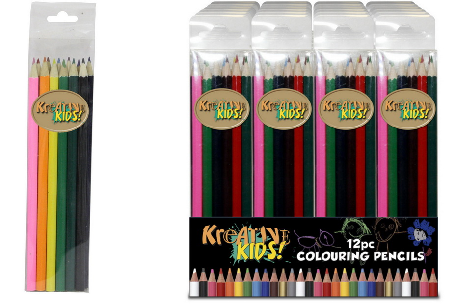 "12pc Colouring Pencils In Pvc Box ""Kreative Kids"""
