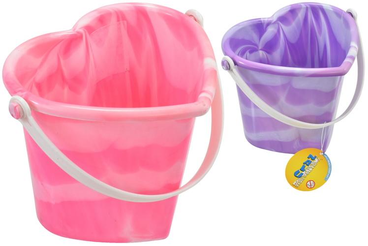 Marble Design Heart Shape Bucket (Pink/Purple)