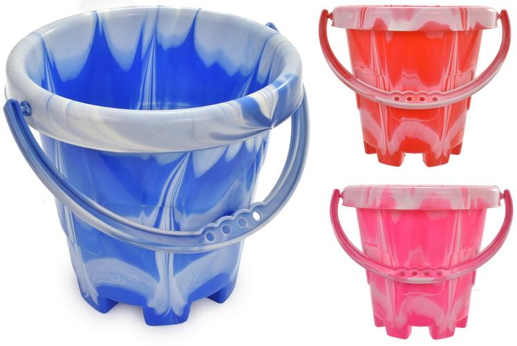 Medium Marble Round Castle Bucket (3 Assorted Colours)
