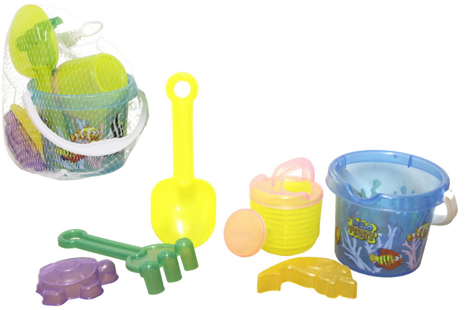 "Transparent Coloured 6pc Baby Bucket Set -""Hello Fishy"""