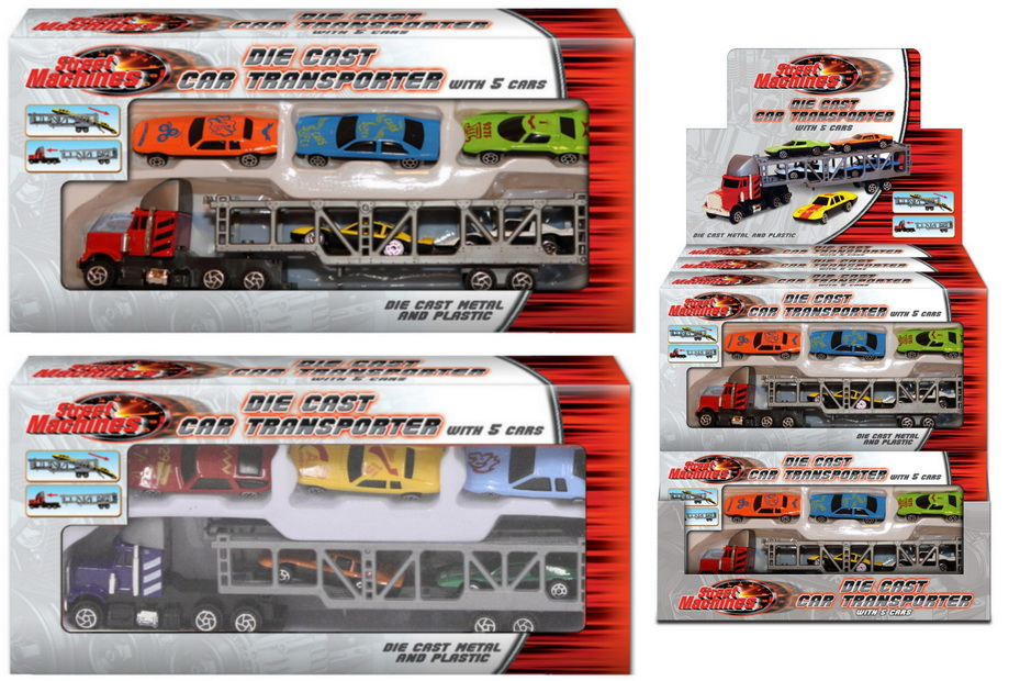 Die Cast Car Transporter With 5 Cars In Wbx/Dbx