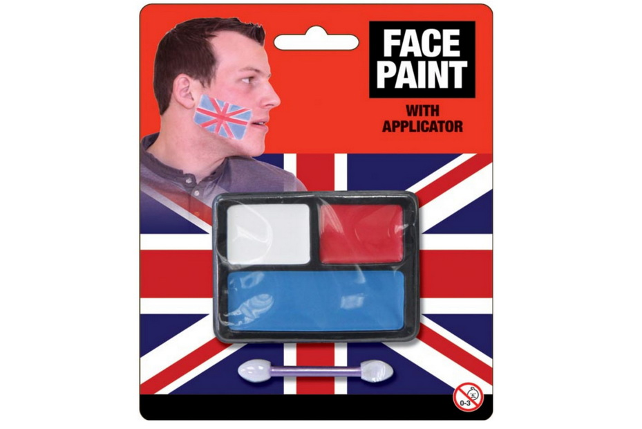 3 Colour Face Paint With Applicator - Red/White/Blue