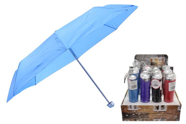"""21""""/54cm Rib Ladies Telescopic Umbrella - 4 Asst Col"""