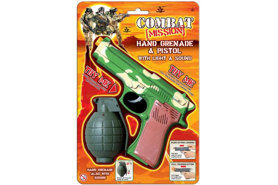 "Handgrenade & Pistol With Sound & Light""Combat Mission"""