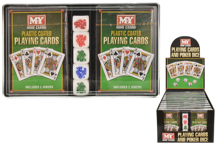 """2 Packs Of Playing Cards With 5 Poker Dice """"M.Y."""""""