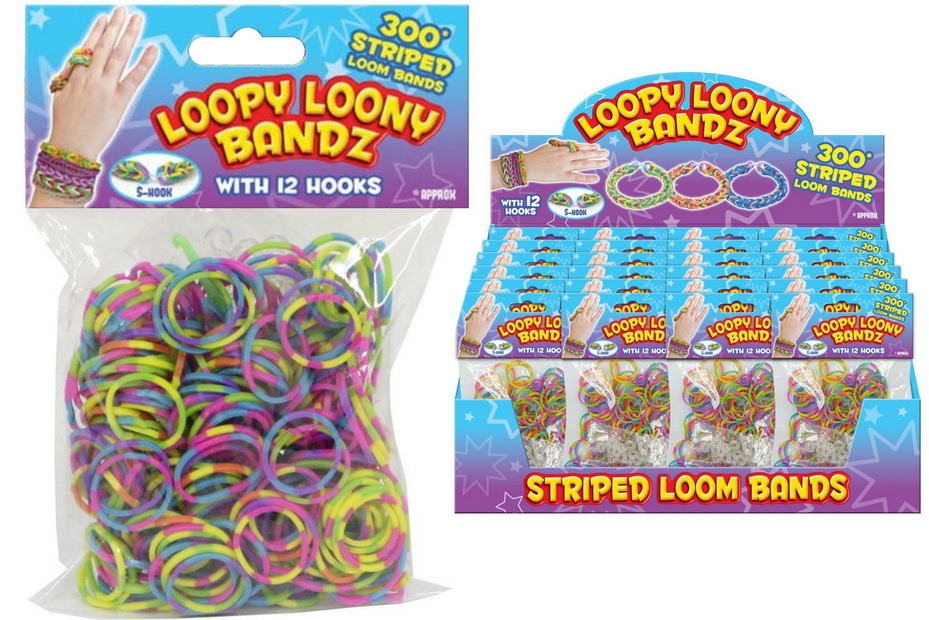 300pc Striped Rubber Loom Bands With 12 Hooks Disp Box