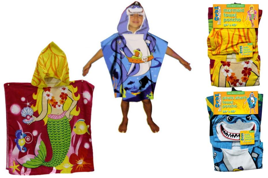 "Kids Towel Poncho (24"" x 48"") - 3 Asst - Header/Hanger"