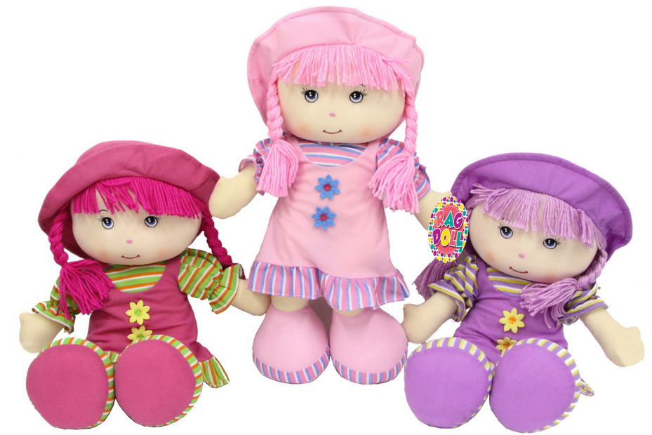 """20"""" Soft Body Rag Doll - 3 Assorted Colours"""