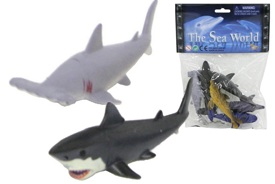 "6pc Pvc Sealife Animals (4"") In Pvc Bag / Header"