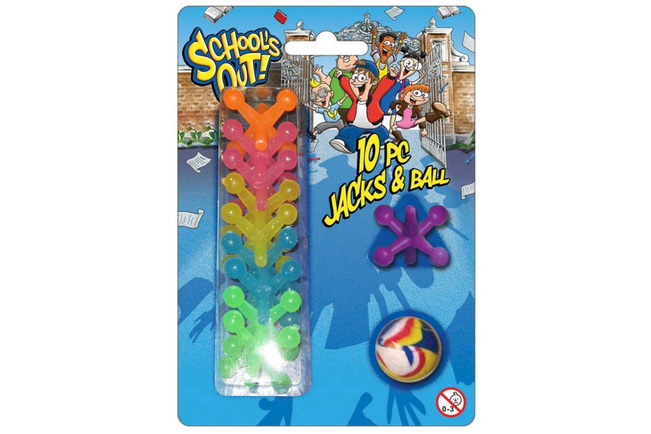 """10pc Jax & Ball On Blistercard """"Schools Out"""""""