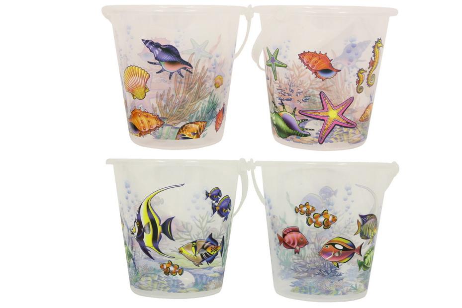 """Transparent Bucket With Sealife Print - 2 Asst """"Nalu"""""""
