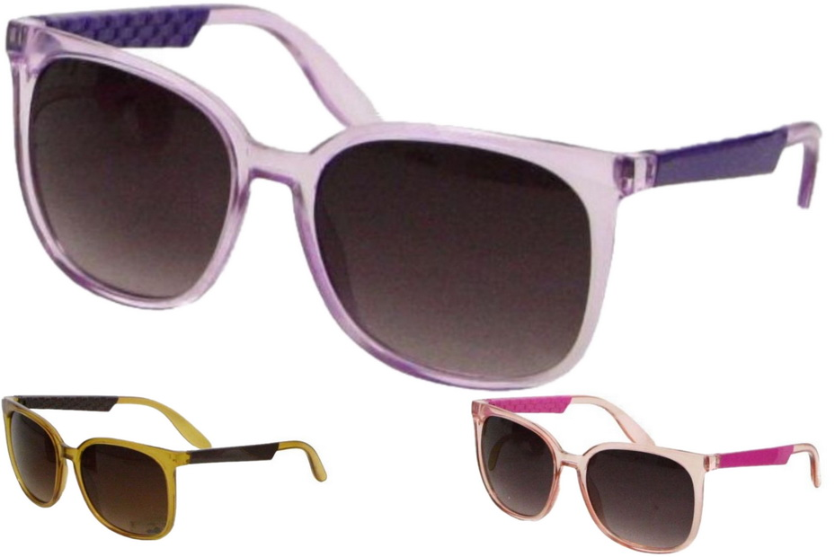 Ladies Larger Lens Plastic Frame Sunglasses - 3 Asst