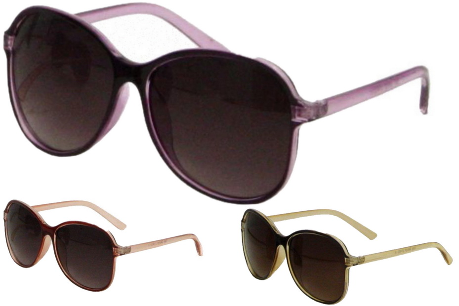 Ladies Neon Plastic Frame Sunglasses - 3 Assorted