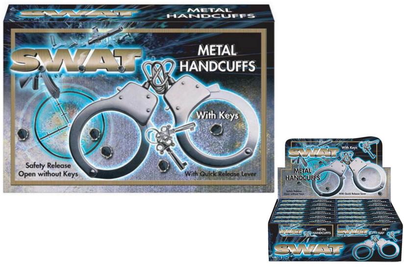 "Metal Handcuffs In Display Box ""Swat"""