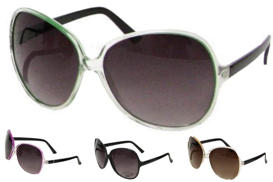 Ladies Plastic Large Lens Sunglasses - 4 Assorted