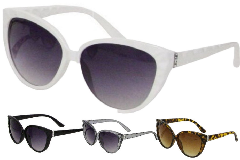 Ladies Plastic Demi Print Sunglasses - 4 Assorted
