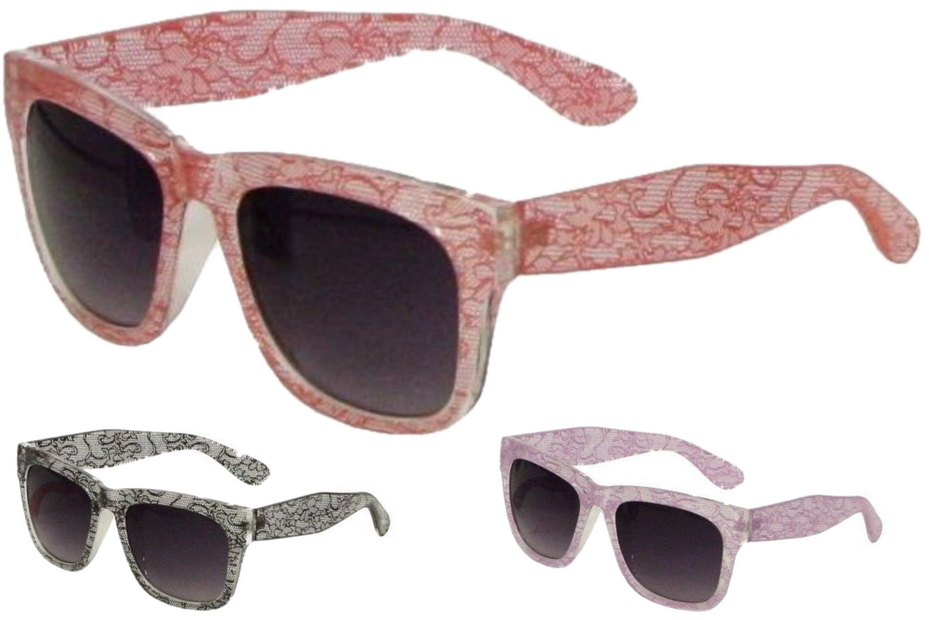 Ladies Printed Plastic Frame Sunglasses - 3 Assorted