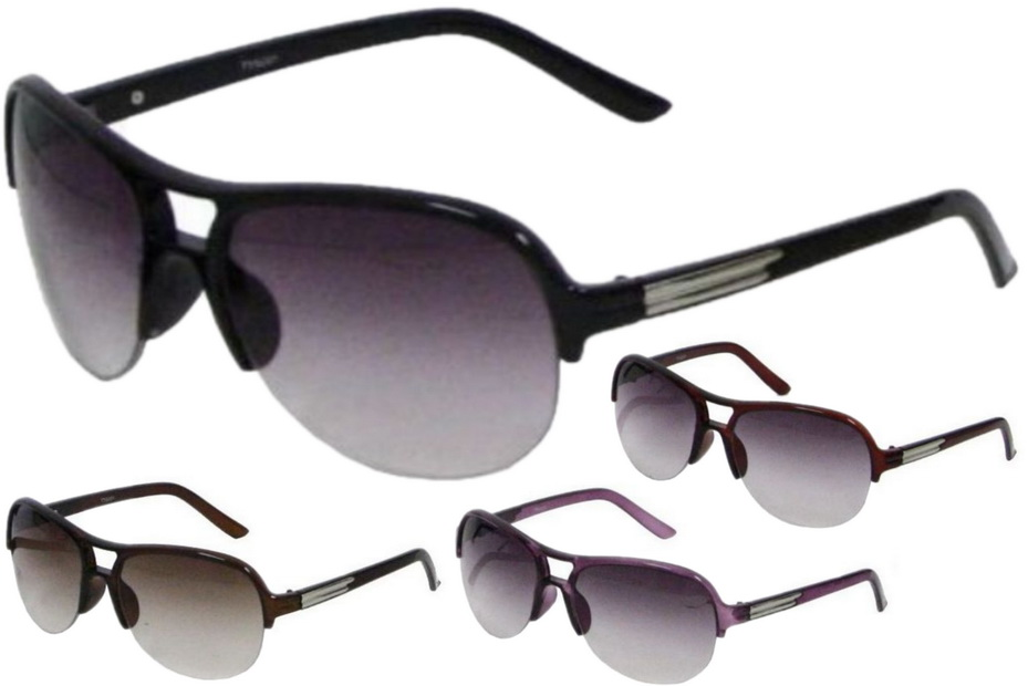 Ladies Plastic 1/2 Frame Sunglasses - 4 Assorted