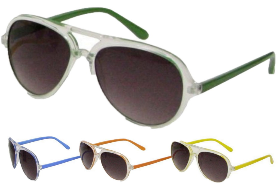 Ladies Neon Plastic Frame Sunglasses - 4 Assorted