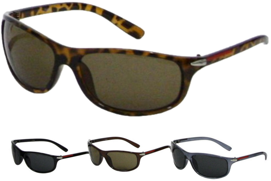 Adult Shiny Plastic Frame Wrap Sunglasses - 4 Assorted
