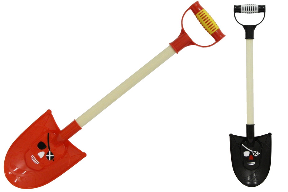 48cm Pirate Wood Shaft Shield Spade - Red & Black