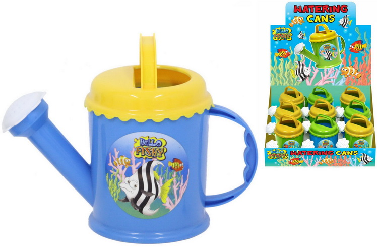 "Plastic Watering Can (3 Asst) In D/Box ""Hello Fishy"""
