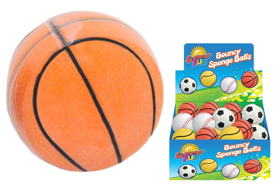 "63mm Bouncy Sponge Balls In Display Box ""Summer Fun"""