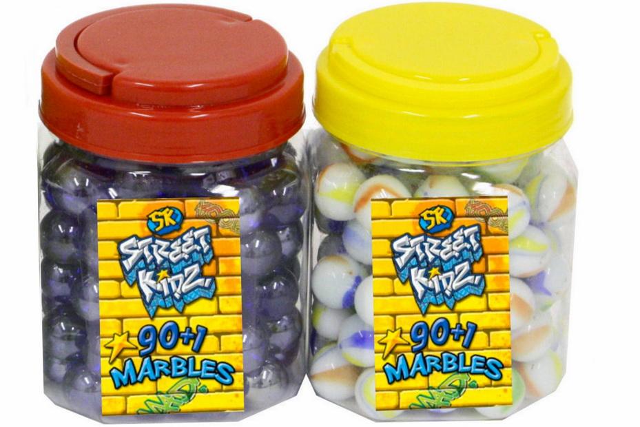 "90+1 Marbles In Pvc Carry Jar 4 Asst ""Street Kids"" -Dbx"