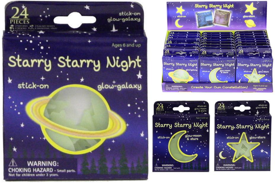 Glow In The Dark Moon & Stars In Window Box/Display Box
