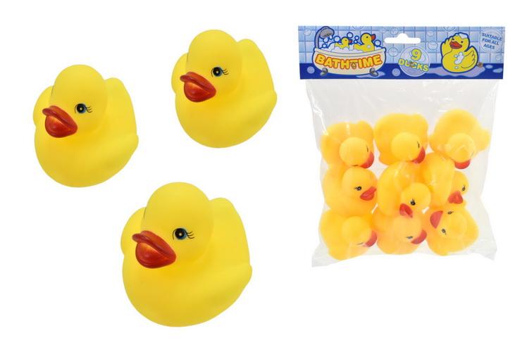 """9pc Rubber Ducks In Polybag Header  """"Bathtime Buddies"""""""