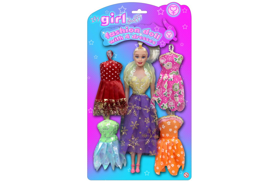 "Doll With 4 Dresses On Blistercard ""Its Girl Stuff"""
