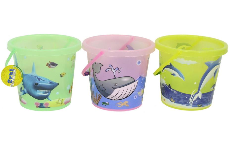"18.5cm/7.2"" Round Transparent Coloured Printed Bucket"