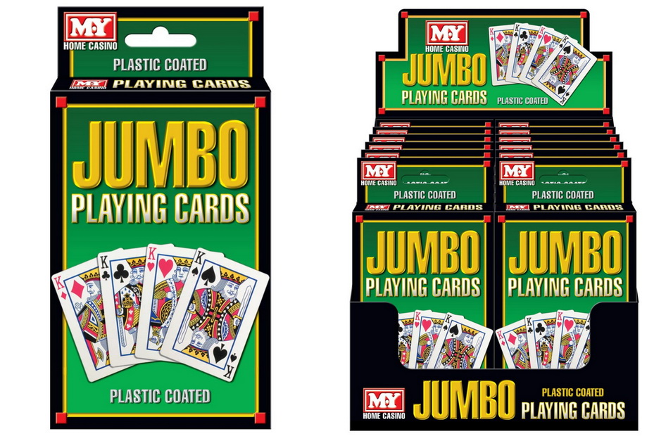 """Plastic Coated Jumbo Playing Cards In Display Box """"M.Y"""""""