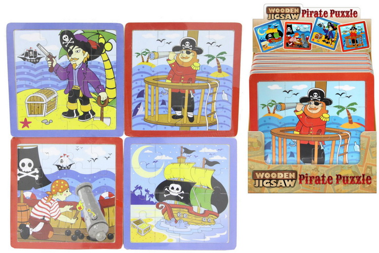 Pirate Wooden Jigsaw Puzzle 22.5 x 22.5cm - 4 Assorted