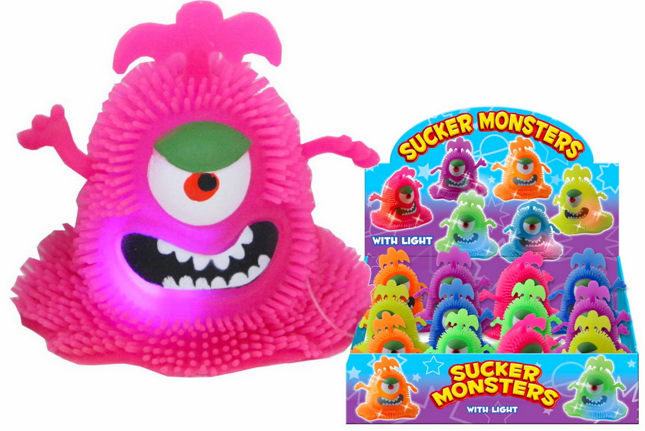Sucker Monsters With Light (6 Assorted) In Display Box